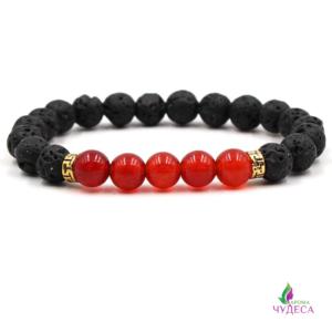Аромабраслет с натуральными лава-камешками (красный)